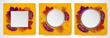 Set sztandary, 3d jesieni papierowi liście dla sztandaru, ulotka, plakat, dziękczynienia kartka z pozdrowieniami projekt Sezon je royalty ilustracja