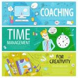 Set sztandary na edukacyjnych tematach dla bloga lub reklamy ilustracji