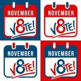 Set sztandary przypomina głosować w wybór prezydenci Zdjęcie Royalty Free