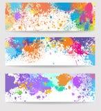 Set sztandary robić farb plamy ilustracja wektor