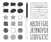 Set sztandary, szczotkuje ołówkowego rysunek i pisze list Zdjęcia Royalty Free