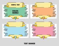 Set sztandary w formie szczotkarska odrobina dla sprzedaży Płaski kreskowej sztuki papieru origami mowy bąbel wektor ilustracji