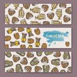 Set sztandary z dekoracyjną filiżanką kawy Obraz Stock