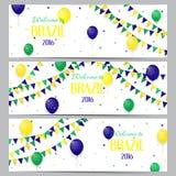 Set sztandary z inskrypci powitaniem Brazylia Zdjęcie Stock