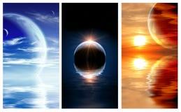 Set sztandary z krajobrazem w fantazi planecie Fotografia Stock