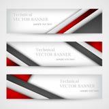 Set sztandary z linia papierem biznesowego projekta szablon Zdjęcie Stock