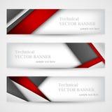 Set sztandary z linia papierem biznesowego projekta szablon Zdjęcia Stock