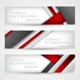 Set sztandary z linia papierem biznesowego projekta szablon Obrazy Royalty Free