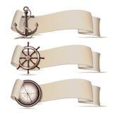 Set sztandary z morskimi ikonami. Zdjęcia Royalty Free