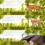 Set sztandary z południowymi America zwierzętami ilustracji