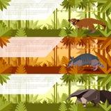 Set sztandary z południowymi America zwierzętami royalty ilustracja