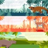Set sztandary z południowymi America zwierzętami Fotografia Royalty Free