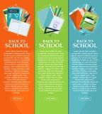 Set sztandary z powrotem szkoła z materiały, falcówkami, książkami i notatnikami z miejscem dla twój teksta, wektor Obrazy Royalty Free