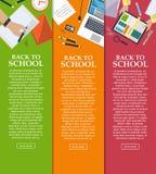 Set sztandary z powrotem szkoła z miejscem dla twój teksta w mieszkanie stylu wektor Zdjęcie Royalty Free