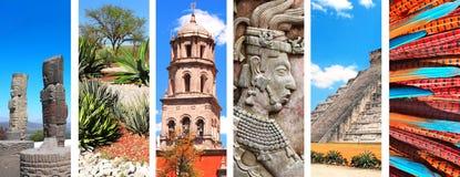 Set sztandary z punktami zwrotnymi Meksyk Obrazy Royalty Free