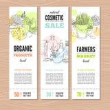 Set sztandary z roślinami ilustracja wektor