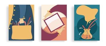 Set sztuka sztandary Wystawa, sztuk lekcje, rynek Poj?cie Kreskówek ręki z ramą, torbą z muśnięciami i artystami, _ royalty ilustracja