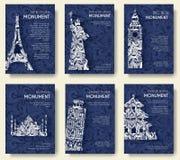 Set sztuki ornamentacyjna podróż i architektura na etnicznych kwiecistych stylowych ulotkach Dziejowi zabytki Francja, Anglia Obraz Royalty Free