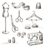 Set szwalni akcesoria rysunki Fotografia Royalty Free