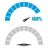 Set szybkościomierz lub ratingowy metr podpisuje infographic wymiernika element z procentem 100 Obrazy Stock