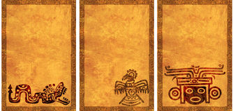 Set tła z Amerykańsko-indiański krajowymi wzorami Obrazy Stock