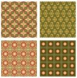 Set tło płytki w art deco stylu z prostymi geometrycznymi wzorami w beżu, czerwieni i zieleni koloru nostalgicznym cieniu, Obrazy Stock