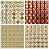 Set tło płytki w art deco stylu z prostymi geometrycznymi wzorami w beżu, czerwieni i zieleni nostalgicznym kolorze, Fotografia Stock