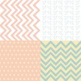Set 4 tło deseniowy, set geometryczny wzór Obrazy Stock