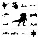 Set of t rex, star david, maryland outline, in black, pennsylvania state, ohio, montana, oklahoma, minnesota, chameleon icons. Set Of 13 simple editable icons Stock Photos