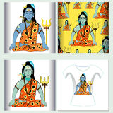 Set for t-shirt design seamless pattern Shiva Mahadev India with Royalty Free Stock Photos