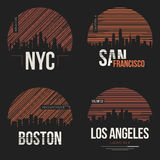 Set of t-shirt designs with us cities silhouettes. Tee shirt print typography label badge emblem. Vector illustration Royalty Free Stock Photos