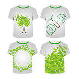 Set of T Shirt Template with green leaves Stock Image