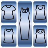 Set of t-shirts and dress icon. Clothes icon set. Vector illustrator Royalty Free Stock Photos