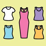 Set of t-shirts and dress icon. Clothes icon set. Vector illustrator Royalty Free Stock Images