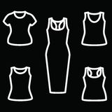Set of t-shirts and dress icon vector. Clothes icon set. Vector illustrator Royalty Free Stock Images