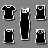Set of t-shirts and dress icon vector. Clothes icon set. Vector illustrator Royalty Free Stock Photography
