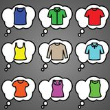 Set of t-shirts icon vector. T-short icon set. Vector illustrator Stock Images