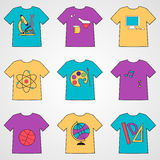 Set of T-shirts with school icons. Stock Photography