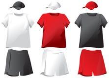 Set of T-shirts, shorts, baseball caps. Vector royalty free illustration