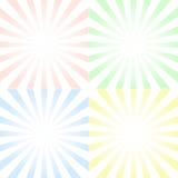 Set tła z centrowanymi symetrycznymi promieniami i gradientem, ilustracji