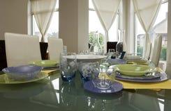 set tabell för glasföremål Arkivbilder