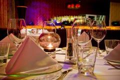set tabell för matställerestaurang Royaltyfri Bild