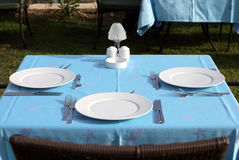 set tabell för restaurang Royaltyfri Bild