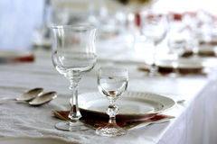 Set  table. Dining room table, set for dinner Stock Photo