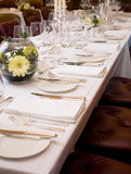 Set Table. Table set for fine dining for a large group Stock Image