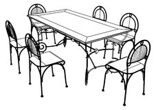 Set Table And Chairs Vector 03 Stock Photos