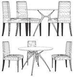 Set Table And Chairs Vector Stock Image