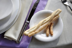 Set table detail of bread plate Royalty Free Stock Images
