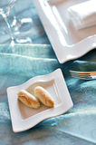 Set table detail of bread plate Stock Images