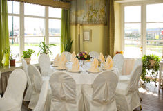Set table in the dining room. Set table in the dining hall Royalty Free Stock Images